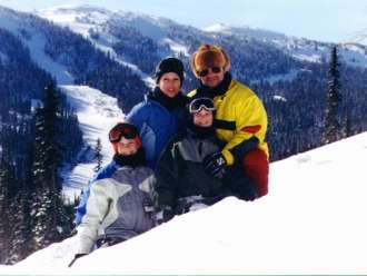 heffley boutique inn at sun peaks resort near kamloops happy family in the snow